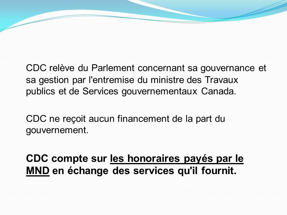 CDC relève du Parlement concernant sa gouvernance et sa gestion par l'entremise du ministre des Travaux publics et de Services gouvernementaux Canada.