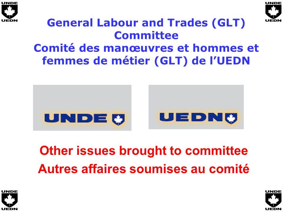 General Labour and Trades (GLT) Committee Comité des manœuvres et hommes et femmes de métier (GLT) de lUEDN Other issues brought to committee Autres affaires soumises au comité
