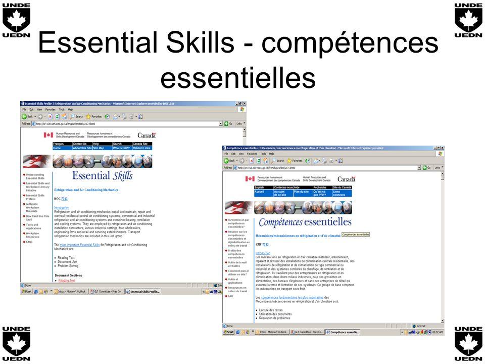 Essential Skills - compétences essentielles