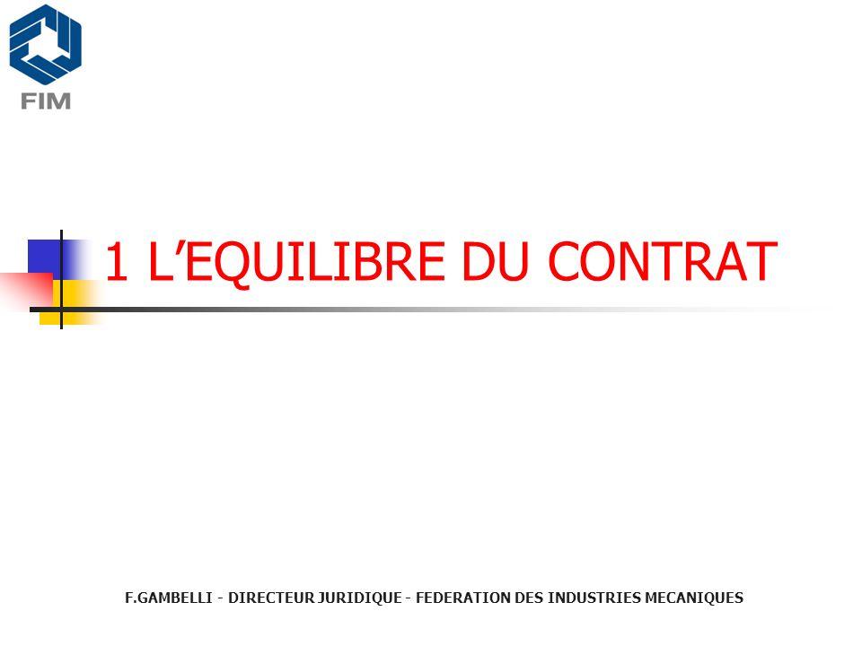 1 LEQUILIBRE DU CONTRAT F.GAMBELLI - DIRECTEUR JURIDIQUE - FEDERATION DES INDUSTRIES MECANIQUES