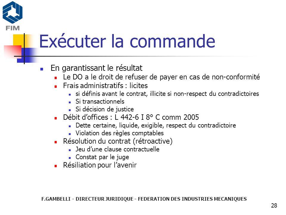 F.GAMBELLI - DIRECTEUR JURIDIQUE - FEDERATION DES INDUSTRIES MECANIQUES 28 Exécuter la commande En garantissant le résultat Le DO a le droit de refuse