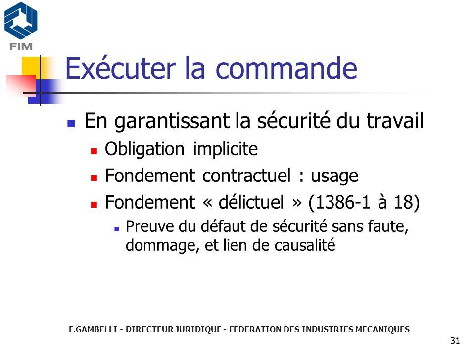 F.GAMBELLI - DIRECTEUR JURIDIQUE - FEDERATION DES INDUSTRIES MECANIQUES 31 Exécuter la commande En garantissant la sécurité du travail Obligation impl