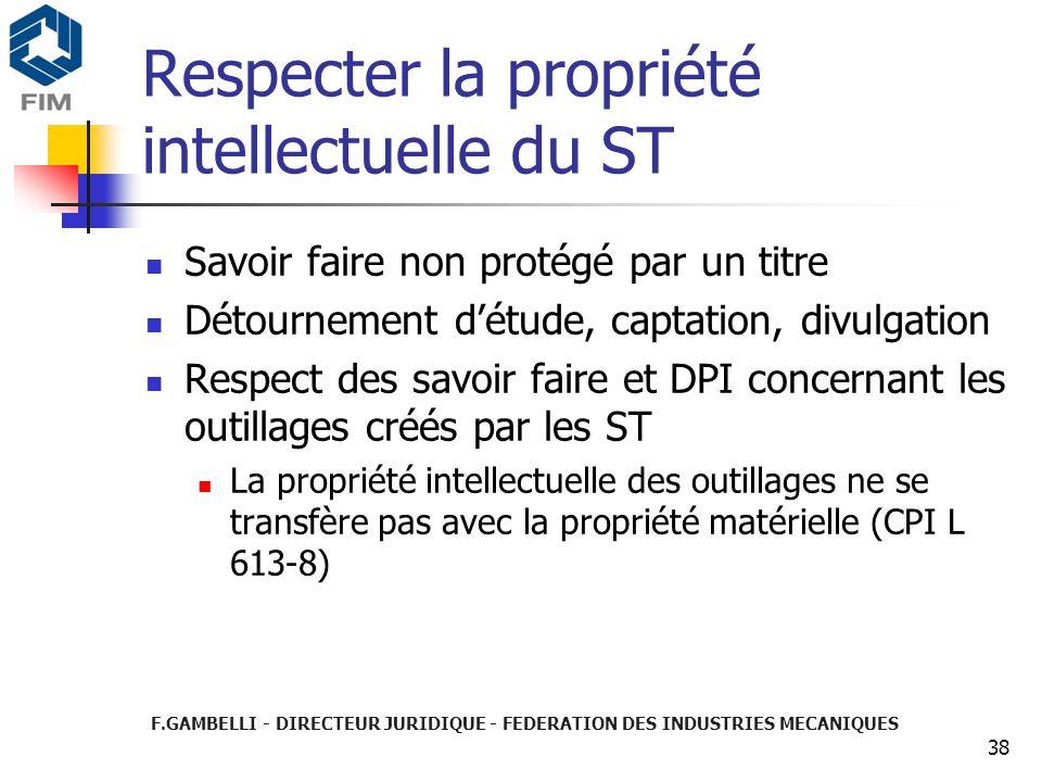 F.GAMBELLI - DIRECTEUR JURIDIQUE - FEDERATION DES INDUSTRIES MECANIQUES 38 Respecter la propriété intellectuelle du ST Savoir faire non protégé par un
