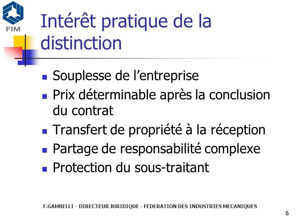 F.GAMBELLI - DIRECTEUR JURIDIQUE - FEDERATION DES INDUSTRIES MECANIQUES 6 Intérêt pratique de la distinction Souplesse de lentreprise Prix déterminabl