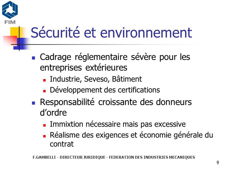 F.GAMBELLI - DIRECTEUR JURIDIQUE - FEDERATION DES INDUSTRIES MECANIQUES 9 Sécurité et environnement Cadrage réglementaire sévère pour les entreprises