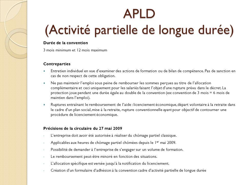 APLD (Activité partielle de longue durée) Durée de la convention 3 mois minimum et 12 mois maximum Contreparties Entretien individuel en vue dexaminer des actions de formation ou de bilan de compétence.