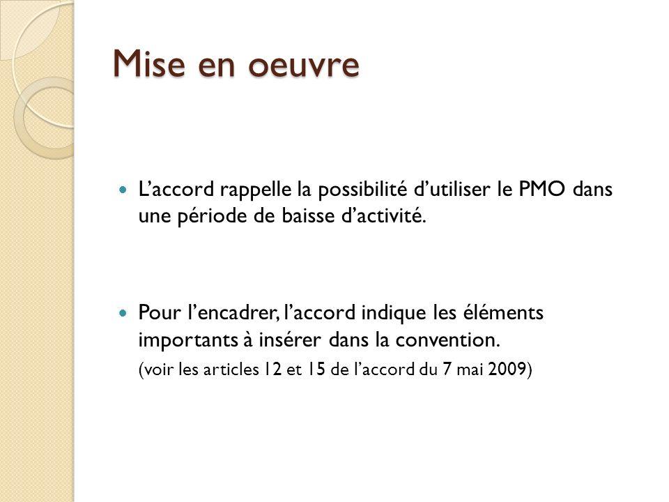 Mise en oeuvre Laccord rappelle la possibilité dutiliser le PMO dans une période de baisse dactivité. Pour lencadrer, laccord indique les éléments imp