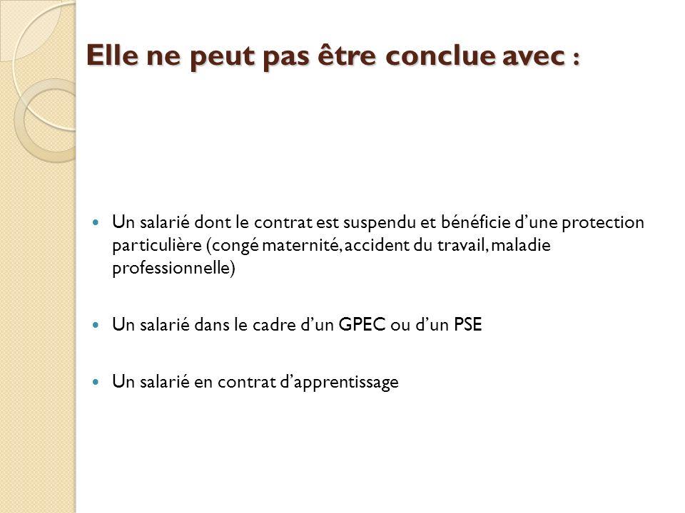 Elle ne peut pas être conclue avec : Un salarié dont le contrat est suspendu et bénéficie dune protection particulière (congé maternité, accident du travail, maladie professionnelle) Un salarié dans le cadre dun GPEC ou dun PSE Un salarié en contrat dapprentissage