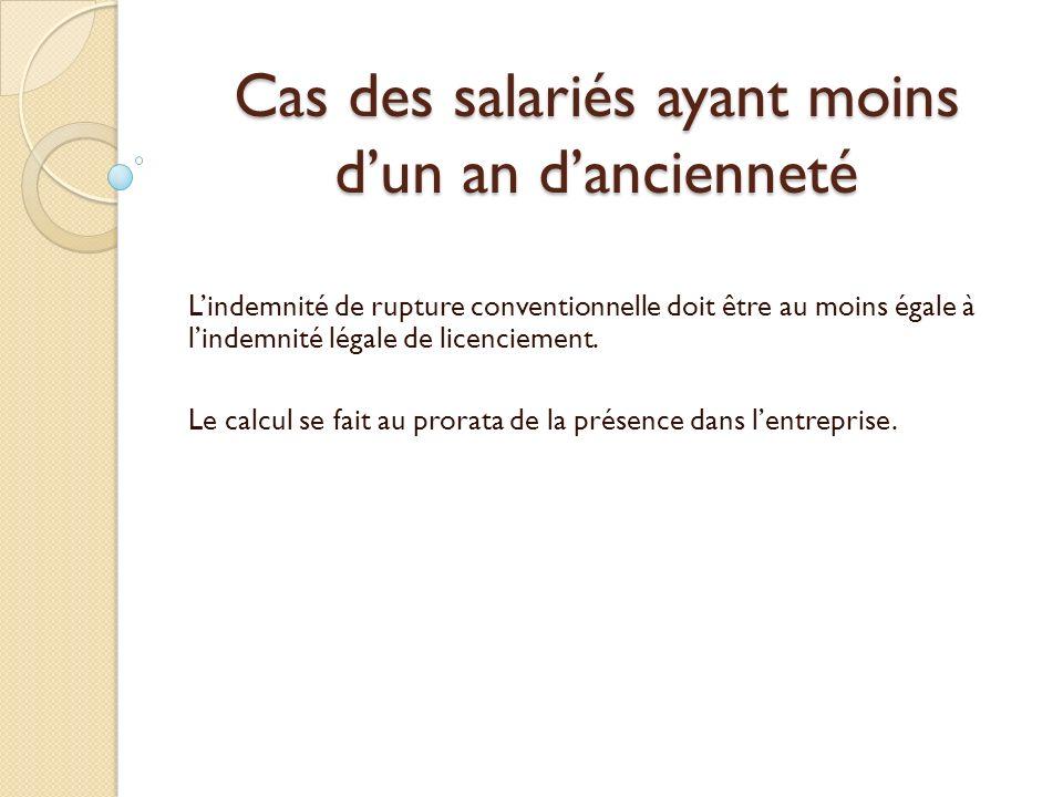 Cas des salariés ayant moins dun an dancienneté Lindemnité de rupture conventionnelle doit être au moins égale à lindemnité légale de licenciement.