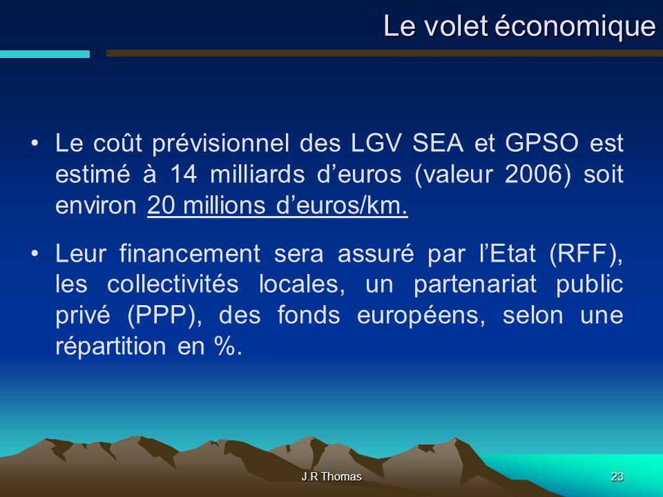 J.R Thomas23 Le volet économique Le coût prévisionnel des LGV SEA et GPSO est estimé à 14 milliards deuros (valeur 2006) soit environ 20 millions deuros/km.