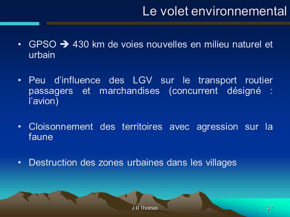 J.R Thomas27 Le volet environnemental GPSO 430 km de voies nouvelles en milieu naturel et urbain Peu dinfluence des LGV sur le transport routier passa