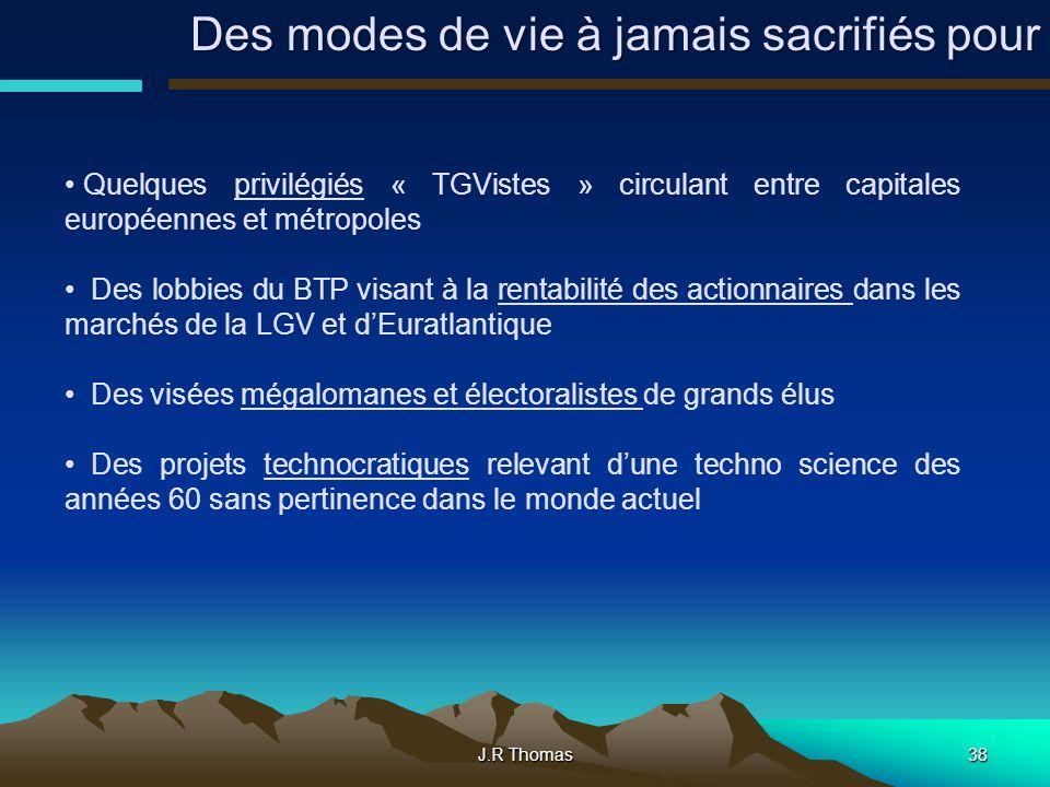 J.R Thomas38 Quelques privilégiés « TGVistes » circulant entre capitales européennes et métropoles Des lobbies du BTP visant à la rentabilité des acti