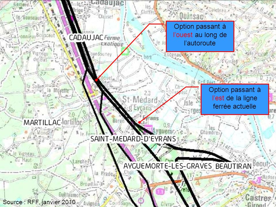 J.R Thomas7 Option passant à louest au long de lautoroute Option passant à lest de la ligne ferrée actuelle Source : RFF, janvier 2010