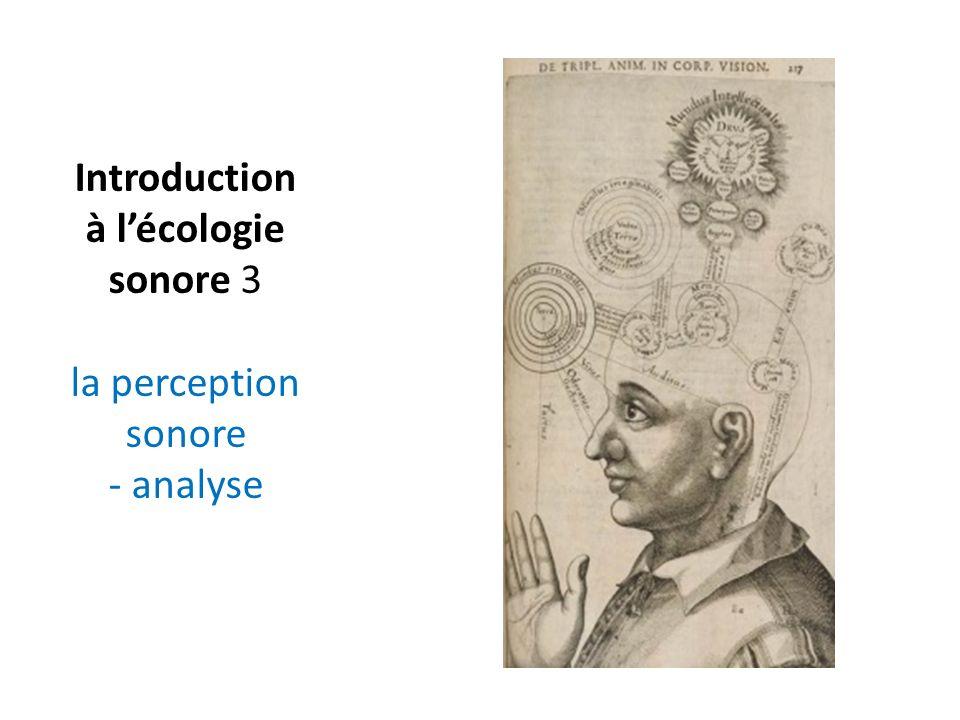 Introduction à lécologie sonore 3 la perception sonore - analyse
