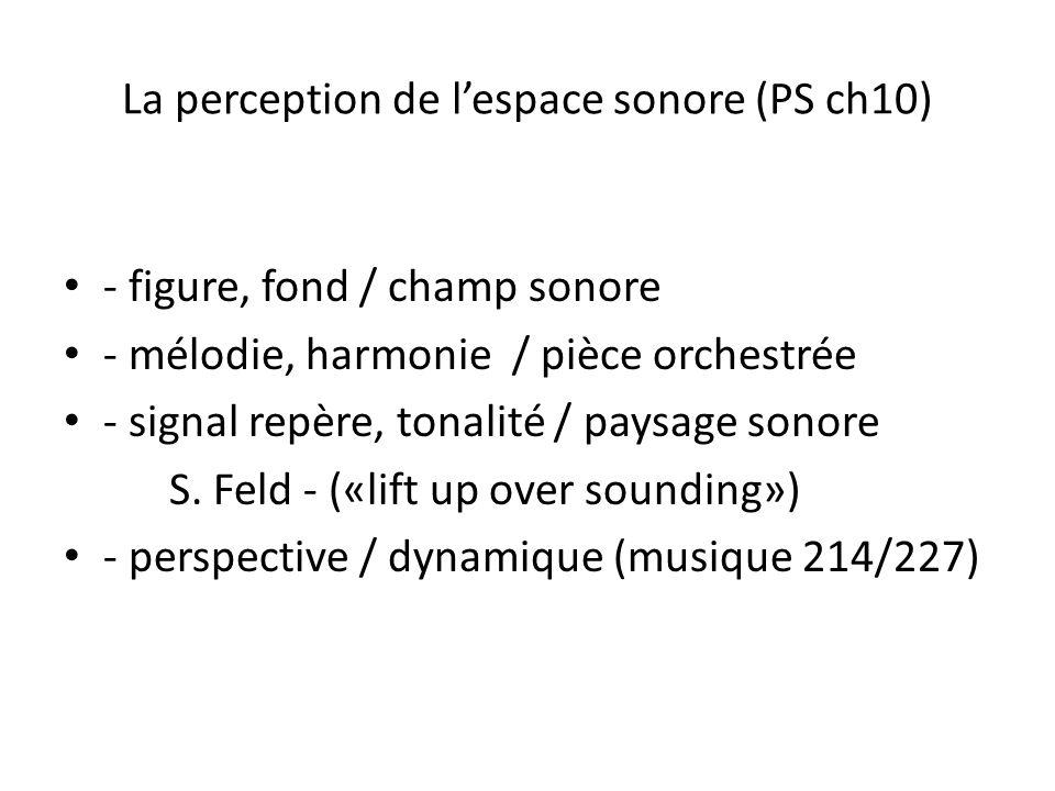 La perception de lespace sonore (PS ch10) - figure, fond / champ sonore - mélodie, harmonie / pièce orchestrée - signal repère, tonalité / paysage son