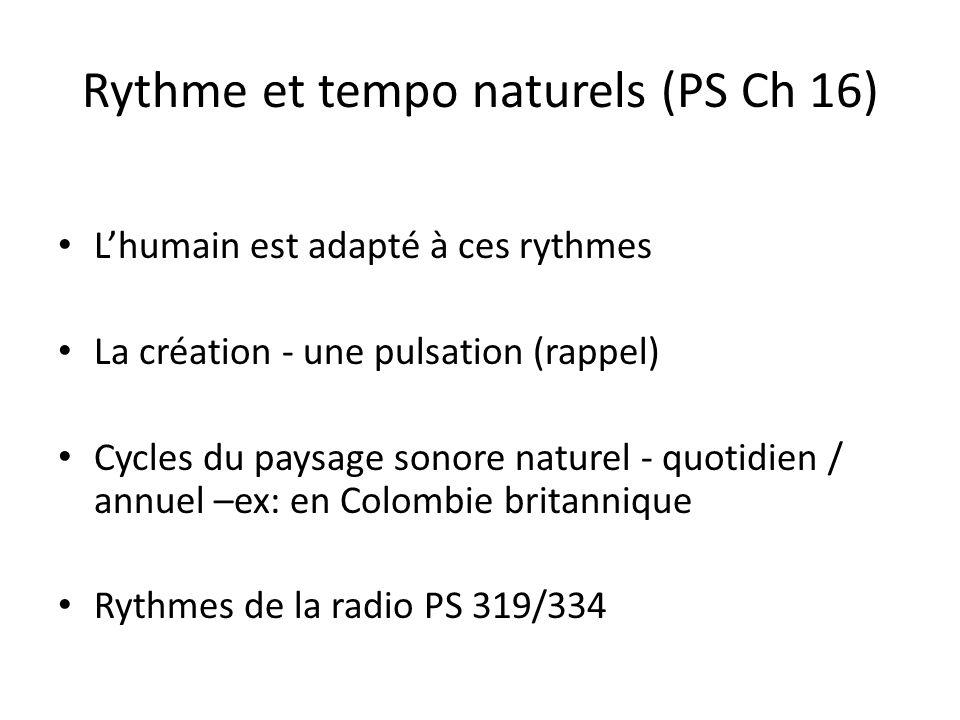Rythme et tempo naturels (PS Ch 16) Lhumain est adapté à ces rythmes La création - une pulsation (rappel) Cycles du paysage sonore naturel - quotidien