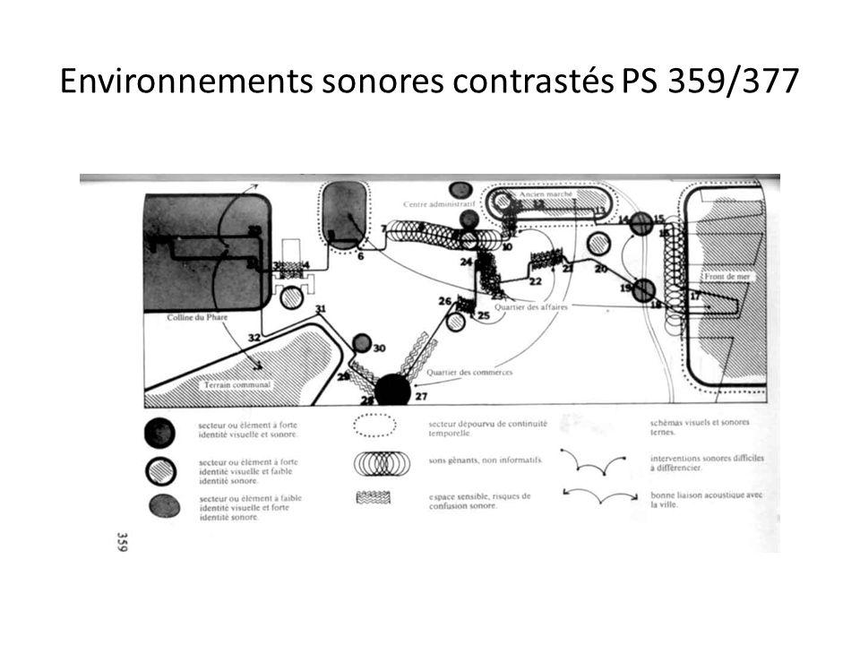 Environnements sonores contrastés PS 359/377