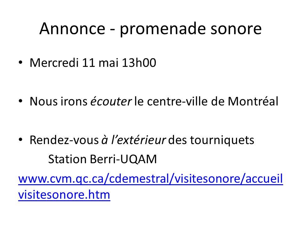 Annonce - promenade sonore Mercredi 11 mai 13h00 Nous irons écouter le centre-ville de Montréal Rendez-vous à lextérieur des tourniquets Station Berri