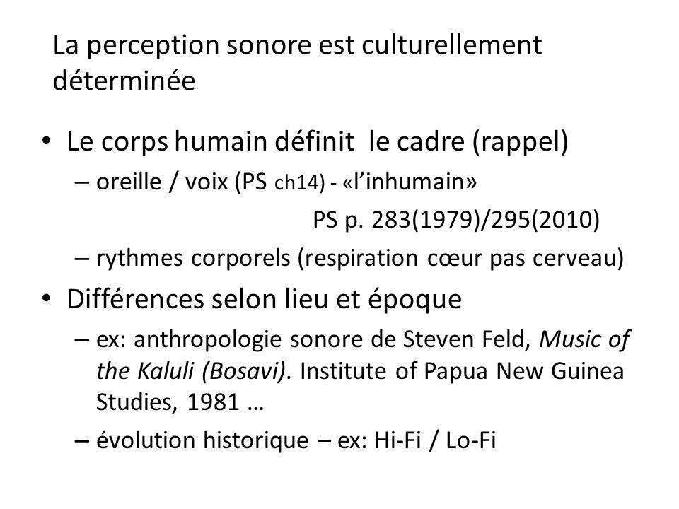 La perception sonore est culturellement déterminée Le corps humain définit le cadre (rappel) – oreille / voix (PS ch14) - « linhumain» PS p. 283(1979)