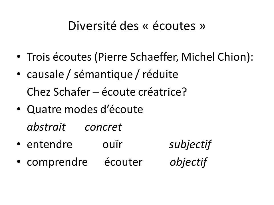 Diversité des « écoutes » Trois écoutes (Pierre Schaeffer, Michel Chion): causale / sémantique / réduite Chez Schafer – écoute créatrice? Quatre modes