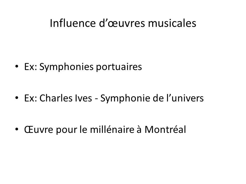 Influence dœuvres musicales Ex: Symphonies portuaires Ex: Charles Ives - Symphonie de lunivers Œuvre pour le millénaire à Montréal