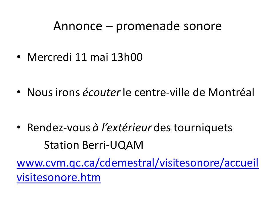 Annonce – promenade sonore Mercredi 11 mai 13h00 Nous irons écouter le centre-ville de Montréal Rendez-vous à lextérieur des tourniquets Station Berri-UQAM www.cvm.qc.ca/cdemestral/visitesonore/accueil visitesonore.htm