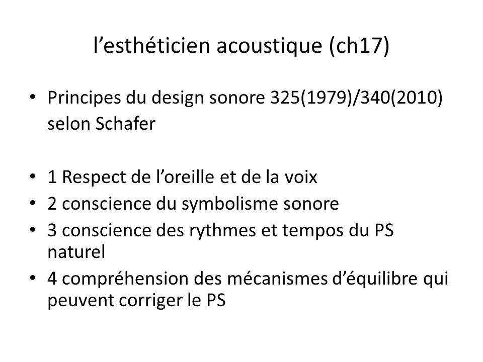 lesthéticien acoustique (ch17) Principes du design sonore 325(1979)/340(2010) selon Schafer 1 Respect de loreille et de la voix 2 conscience du symbolisme sonore 3 conscience des rythmes et tempos du PS naturel 4 compréhension des mécanismes déquilibre qui peuvent corriger le PS