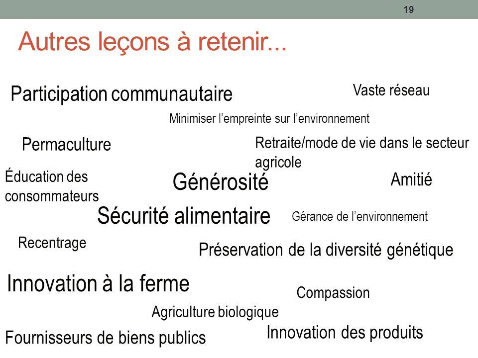Autres leçons à retenir... 19 Participation communautaire Générosité Vaste réseau Sécurité alimentaire Innovation à la ferme Permaculture Amitié Retra