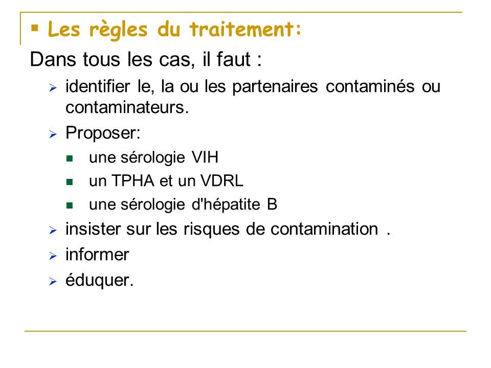 Les règles du traitement: Dans tous les cas, il faut : identifier le, la ou les partenaires contaminés ou contaminateurs. Proposer: une sérologie VIH