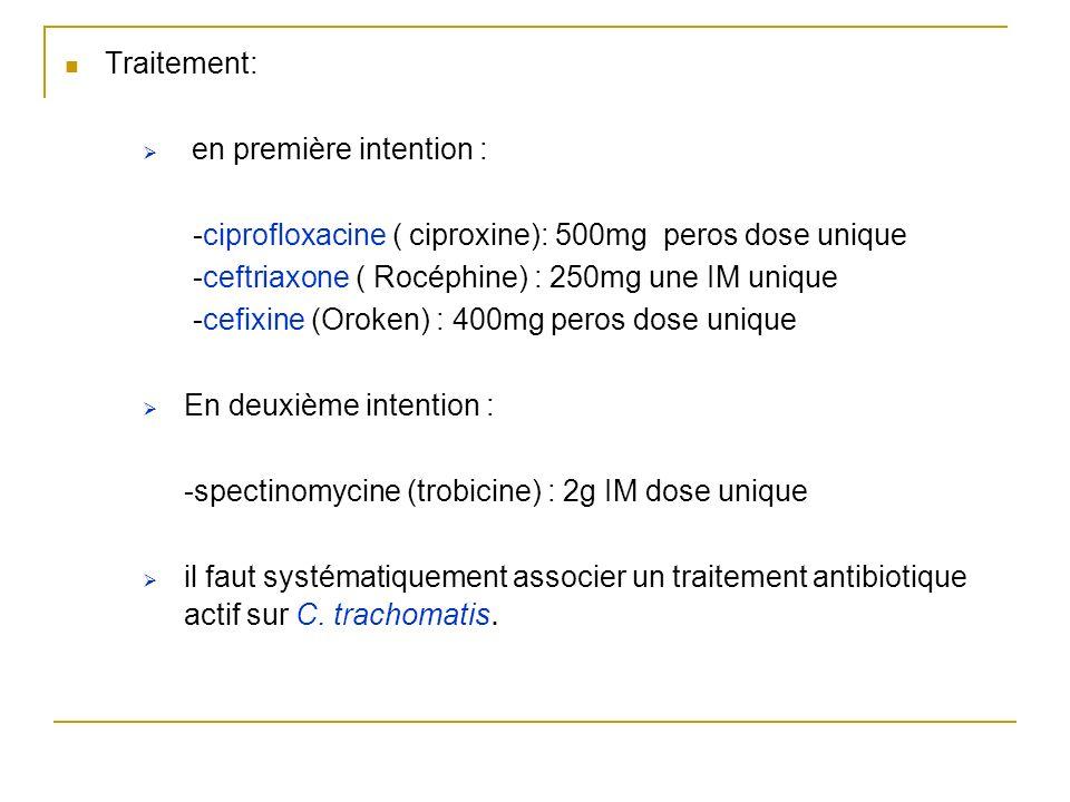 Traitement: en première intention : -ciprofloxacine ( ciproxine): 500mg peros dose unique -ceftriaxone ( Rocéphine) : 250mg une IM unique -cefixine (O