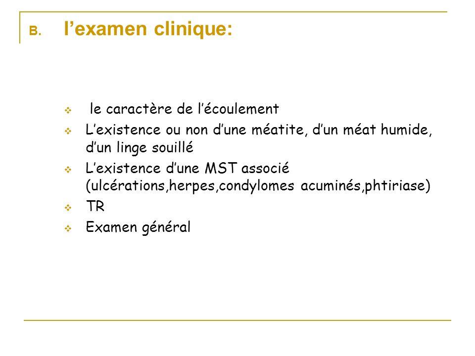 B. lexamen clinique: le caractère de lécoulement Lexistence ou non dune méatite, dun méat humide, dun linge souillé Lexistence dune MST associé (ulcér