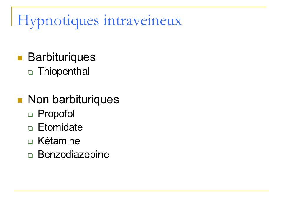 Hypnotiques intraveineux Barbituriques Thiopenthal Non barbituriques Propofol Etomidate Kétamine Benzodiazepine