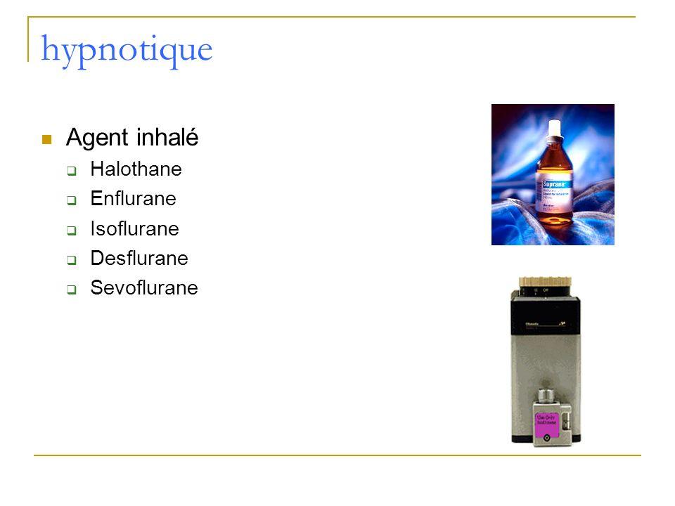 hypnotique Agent inhalé Halothane Enflurane Isoflurane Desflurane Sevoflurane