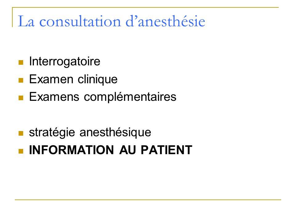 La consultation danesthésie Interrogatoire Examen clinique Examens complémentaires stratégie anesthésique INFORMATION AU PATIENT
