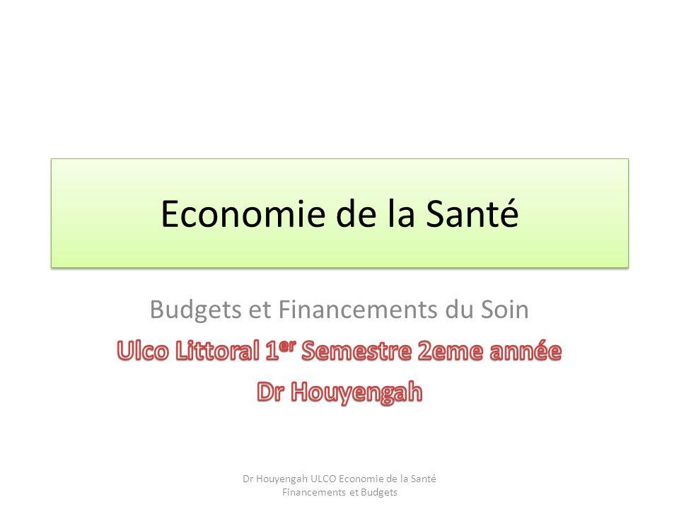 Economie de la Santé Dr Houyengah ULCO Economie de la Santé Financements et Budgets
