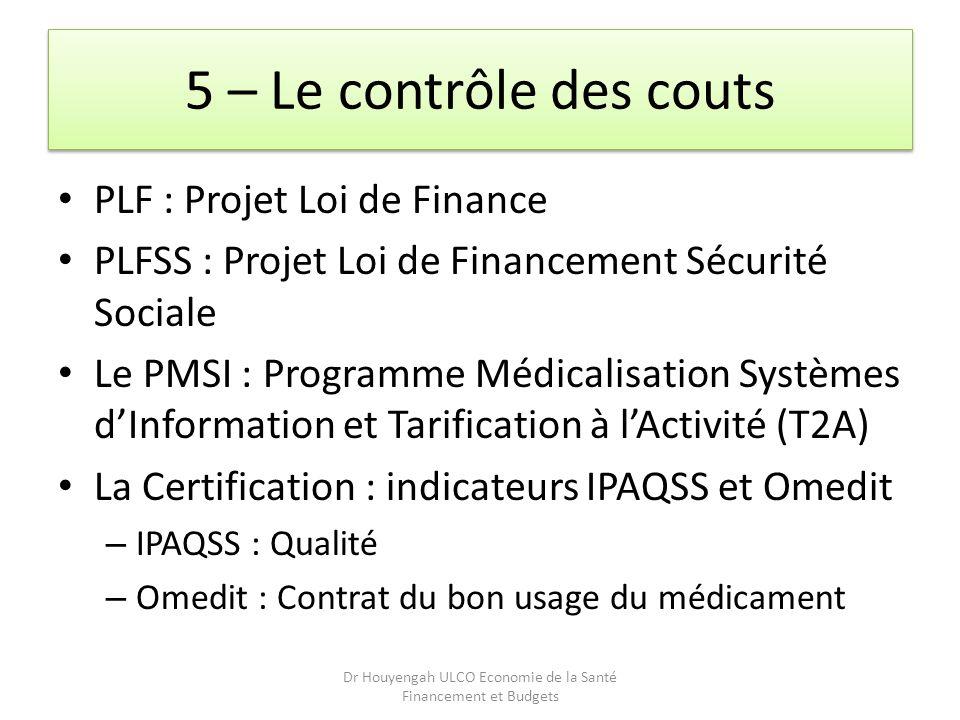 5 – Le contrôle des couts PLF : Projet Loi de Finance PLFSS : Projet Loi de Financement Sécurité Sociale Le PMSI : Programme Médicalisation Systèmes d
