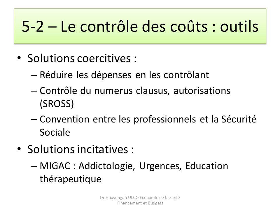 5-2 – Le contrôle des coûts : outils Solutions coercitives : – Réduire les dépenses en les contrôlant – Contrôle du numerus clausus, autorisations (SR