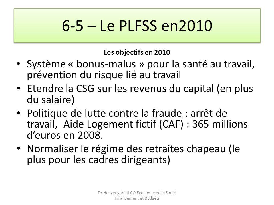 6-5 – Le PLFSS en2010 Les objectifs en 2010 Système « bonus-malus » pour la santé au travail, prévention du risque lié au travail Etendre la CSG sur l
