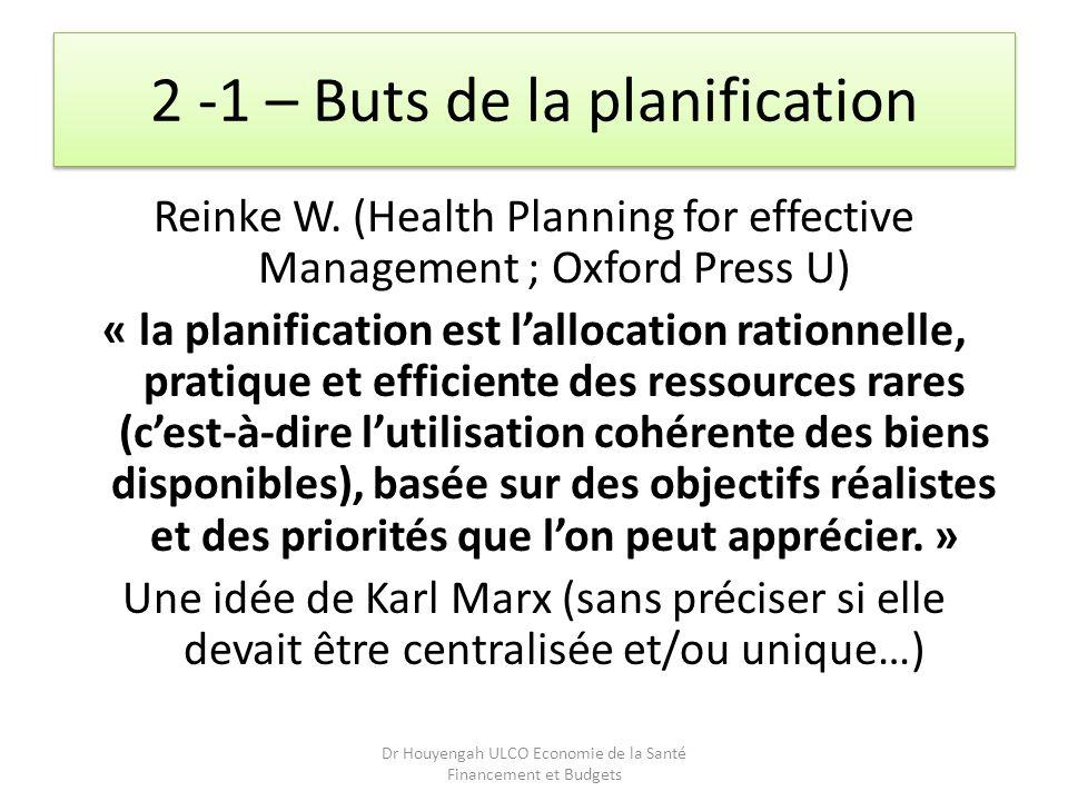 2 -1 – Buts de la planification Reinke W. (Health Planning for effective Management ; Oxford Press U) « la planification est lallocation rationnelle,