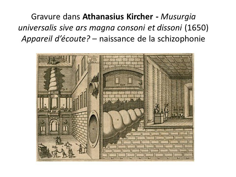 Gravure dans Athanasius Kircher - Musurgia universalis sive ars magna consoni et dissoni (1650) Appareil découte? – naissance de la schizophonie