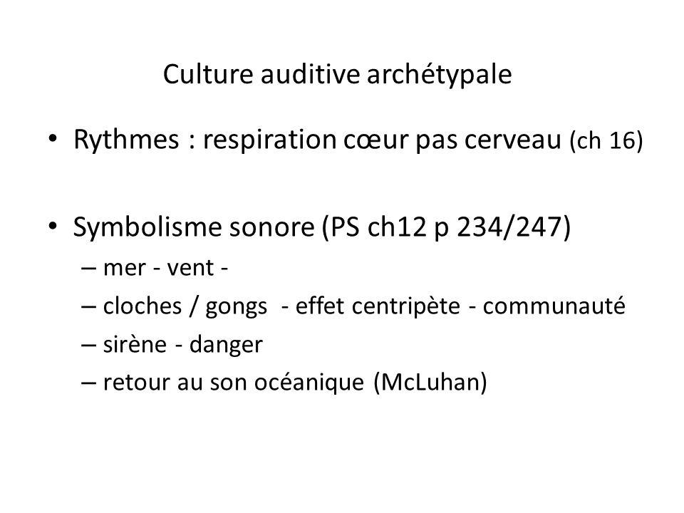 Culture auditive archétypale Rythmes : respiration cœur pas cerveau (ch 16) Symbolisme sonore (PS ch12 p 234/247) – mer - vent - – cloches / gongs - e