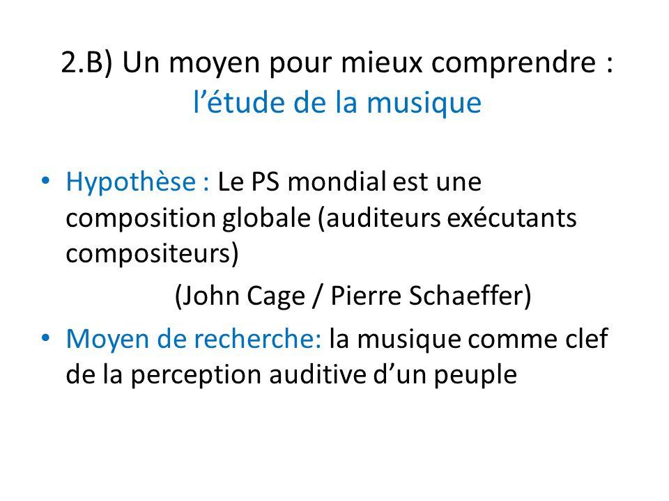 2.B) Un moyen pour mieux comprendre : létude de la musique Hypothèse : Le PS mondial est une composition globale (auditeurs exécutants compositeurs) (