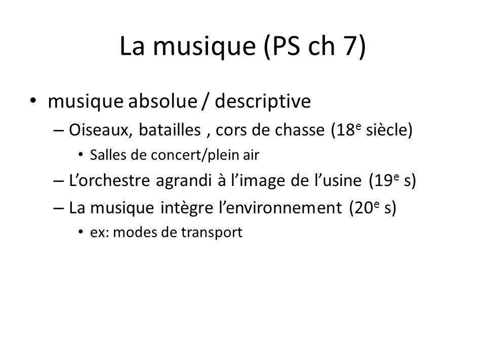 La musique (PS ch 7) musique absolue / descriptive – Oiseaux, batailles, cors de chasse (18 e siècle) Salles de concert/plein air – Lorchestre agrandi
