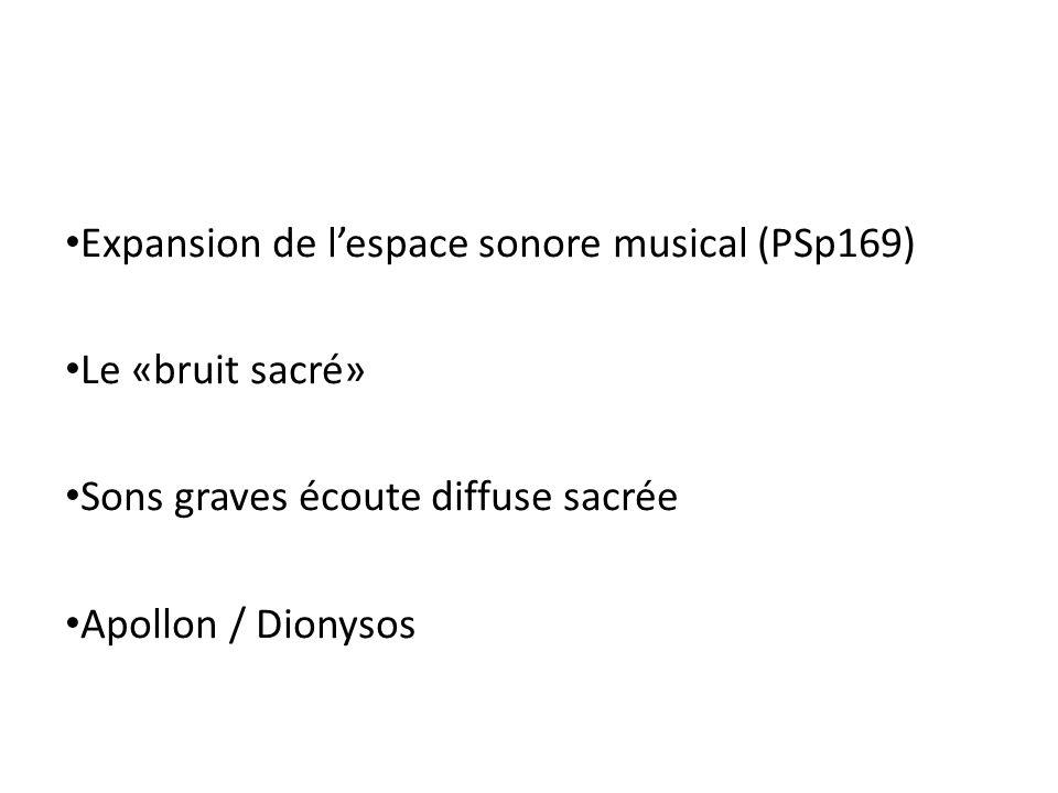 Expansion de lespace sonore musical (PSp169) Le «bruit sacré» Sons graves écoute diffuse sacrée Apollon / Dionysos