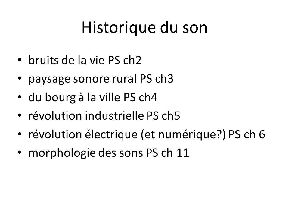 Historique du son bruits de la vie PS ch2 paysage sonore rural PS ch3 du bourg à la ville PS ch4 révolution industrielle PS ch5 révolution électrique