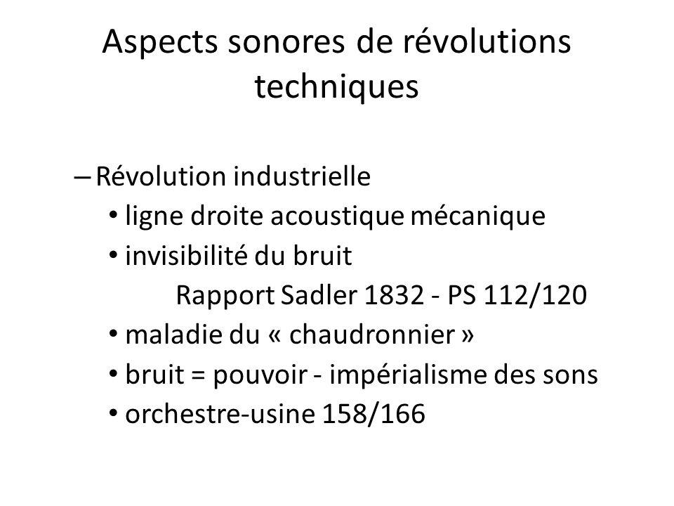 Aspects sonores de révolutions techniques – Révolution industrielle ligne droite acoustique mécanique invisibilité du bruit Rapport Sadler 1832 - PS 1