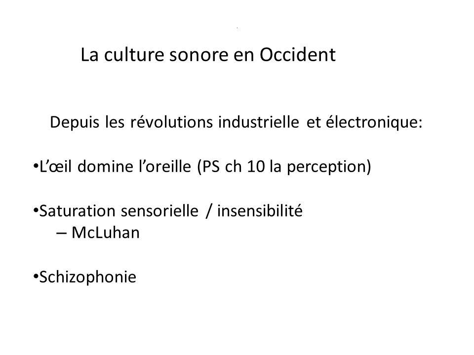 Culture auditive archétypale Rythmes : respiration cœur pas cerveau (ch 16) Symbolisme sonore (PS ch12 p 234/247) – mer - vent - – cloches / gongs - effet centripète - communauté – sirène - danger – retour au son océanique (McLuhan)