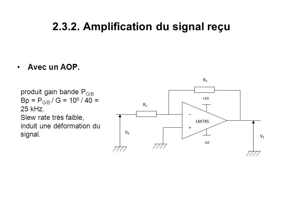 2.3.2. Amplification du signal reçu Avec un AOP.