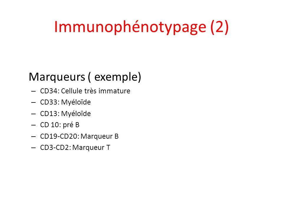 Immunophénotypage (2) Marqueurs ( exemple) – CD34: Cellule très immature – CD33: Myéloïde – CD13: Myéloïde – CD 10: pré B – CD19-CD20: Marqueur B – CD