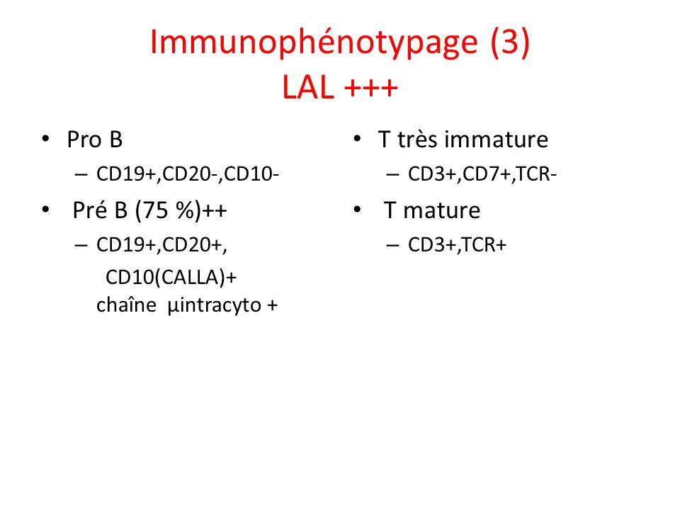 Immunophénotypage (3) LAL +++ Pro B – CD19+,CD20-,CD10- Pré B (75 %)++ – CD19+,CD20+, CD10(CALLA)+ chaîne µintracyto + T très immature – CD3+,CD7+,TCR